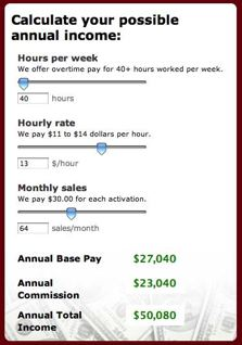 Dish Network salary calculator screenshot