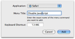 Disable JavaScript Shortcut in the Keyboard & Mouse Menu