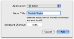 Disable Styles Shortcut in the Keyboard & Mouse Menu