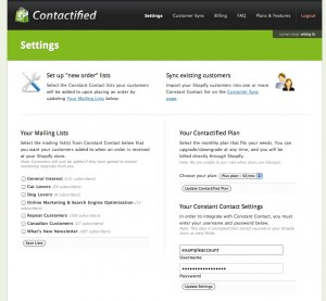 Contactified Settings