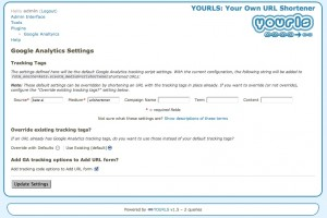 YOURLS Google Analytics Settings Page